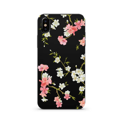Black Wood Printed - Floral Shabby Chic - Milkyway Cases -  iPhone - Samsung - Clear Cut Silicone Phone Case Cover