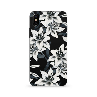 Black Wood Printed - Watercolor Lilies - Milkyway Cases -  iPhone - Samsung - Clear Cut Silicone Phone Case Cover