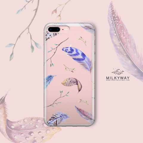 'Boho Feathers' - Clear TPU Case Cover