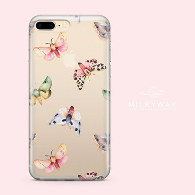 Watercolor Moth - Clear Case Cover - Milkyway Cases -  iPhone - Samsung - Clear Cut Silicone Phone Case Cover