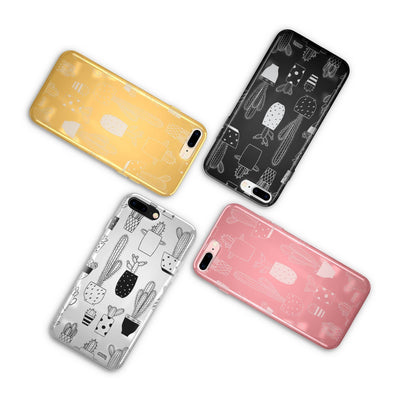 Chrome Shiny TPU Case - Cactus - Milkyway Cases -  iPhone - Samsung - Clear Cut Silicone Phone Case Cover