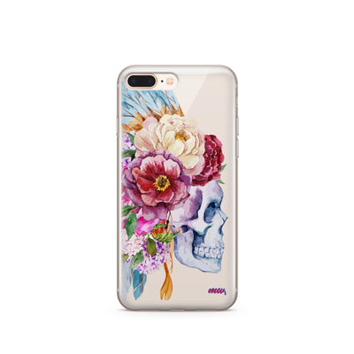 Craneo De La Flor - Clear TPU Case Cover - Milkyway Cases -  iPhone - Samsung - Clear Cut Silicone Phone Case Cover