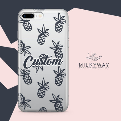 Custom Pineapple Case - Clear Case Cover - Milkyway Cases -  iPhone - Samsung - Clear Cut Silicone Phone Case Cover