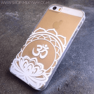 Henna Ohm Lotus Mandala - Clear TPU Case Cover Milkyway iPhone Samsung Clear Cute Silicone 8 Plus 7 X Cover