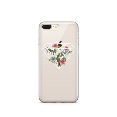 Floral Diamond - Clear TPU Case Cover - Milkyway Cases -  iPhone - Samsung - Clear Cut Silicone Phone Case Cover
