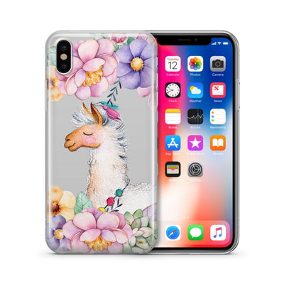 Floral Llama iPhone & Samsung Clear Phone Case Cover - Milkyway Cases -  iPhone - Samsung - Clear Cut Silicone Phone Case Cover