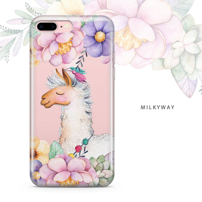 clear llama flower phone case