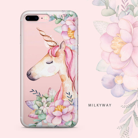 Floral Unicorn - Clear TPU Case Cover