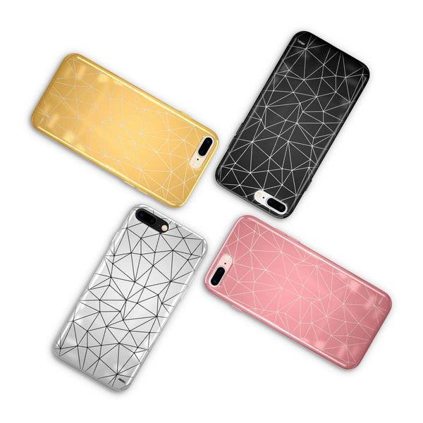 Geo Chrome Shiny iPhone Phone Case Cover - Milkyway Cases -  iPhone - Samsung - Clear Cut Silicone Phone Case Cover