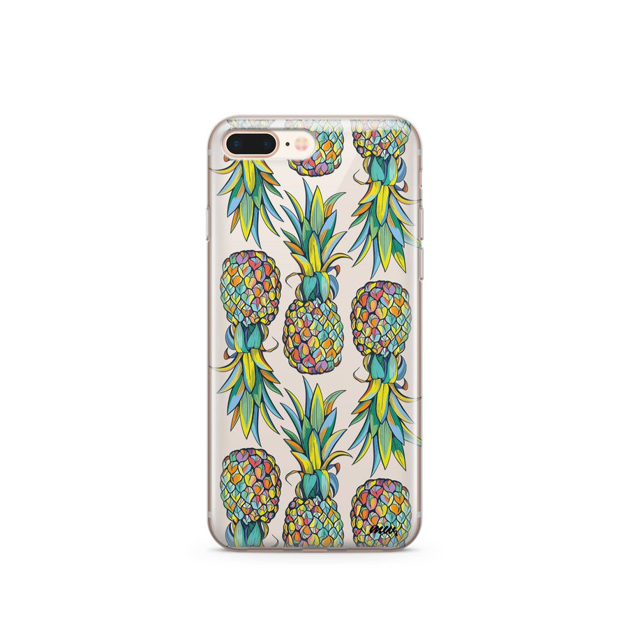 CLEARANCE iPhone 7 Clear Case Cover - Hawaiian Pineapple Milkyway iPhone Samsung Clear Cute Silicone 8 Plus 7 X Cover