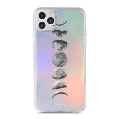 Moon Phase Holographic Case - Clear Cut Silicone iPhone Cover - Milkyway Cases