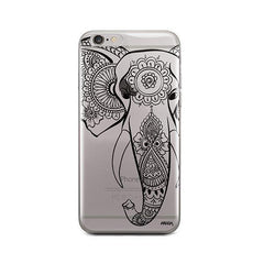 Black Tribal Elephant - iPhone 6 / 6S Case Clear