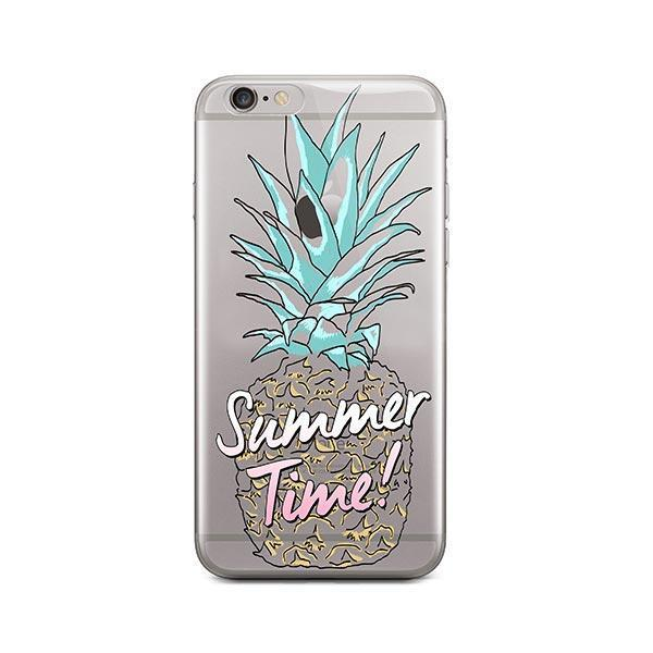 Teal Summertime Pineapple iPhone 6 Plus / 6S Plus Case Clear