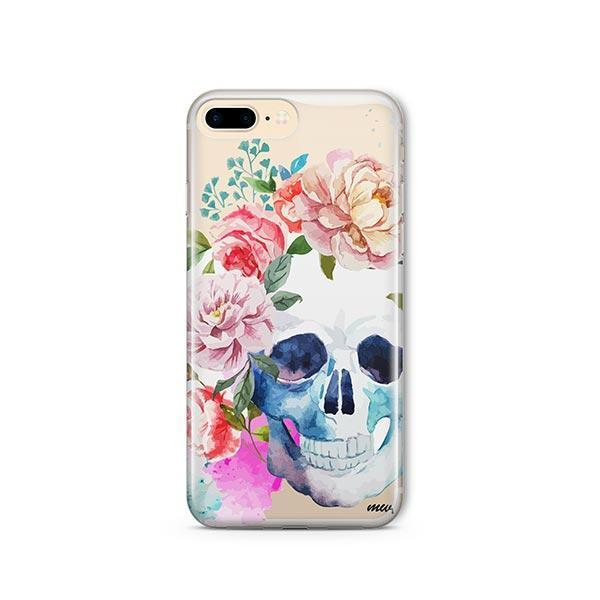 Colored Floral Skull iPhone 8 Plus Case Clear