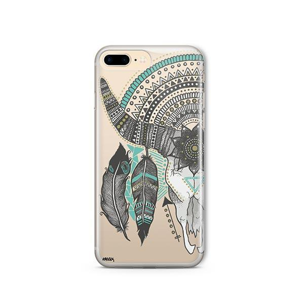 Feathered Mandala Animal Skull iPhone 7 Plus Case Clear
