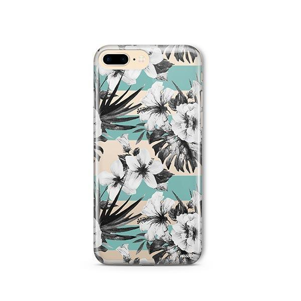 Black and White Floral iPhone 7 Plus Case Clear