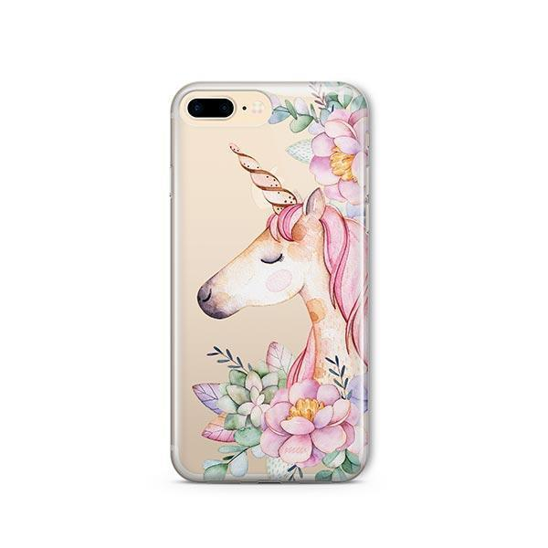 Floral Unicorn iPhone 7 Plus Case Clear