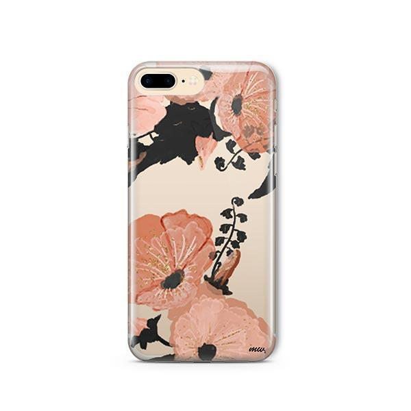 Peachy Floral iPhone 7 Plus Case Clear