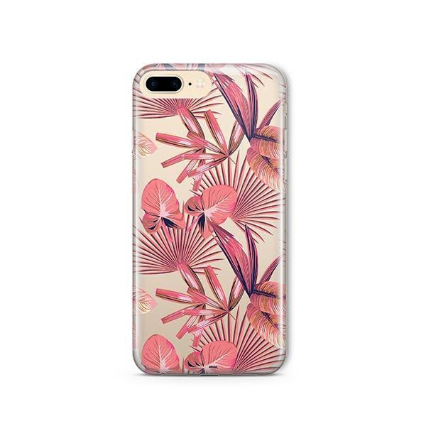 Pink Palm Leaves iPhone 7 Plus Case Clear