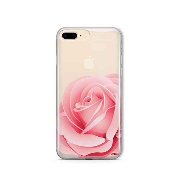 new products f53c9 3b5b4 Pink Rose iPhone 8 Plus Case Clear