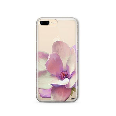 Watercolor Magnolia - Clear TPU - iPhone Case