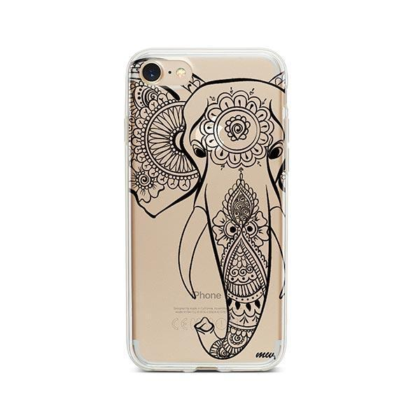 Black Tribal Elephant - iPhone 8 Case Clear