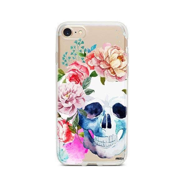 Colored Floral Skull iPhone 8 Case Clear