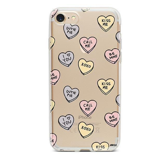 Candy Hearts iPhone 8 Case Clear