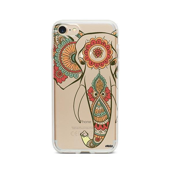 Colored Tribal Elephant - iPhone 8 Case Clear