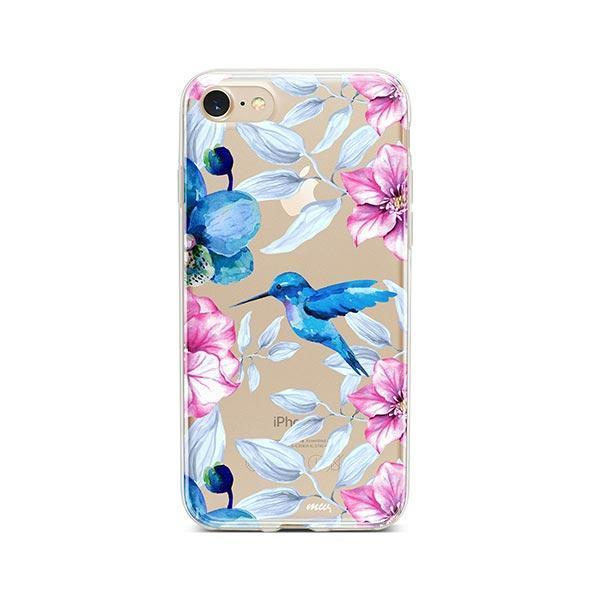 Colored Vintage Hummingbird - iPhone 8 Case Clear