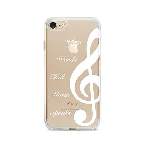 super popular 8af62 0a548 When Words Fail Music Speaks iPhone 8 Case Clear