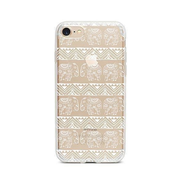 Henna Lotus Floral Elephant - iPhone 7 Case Clear