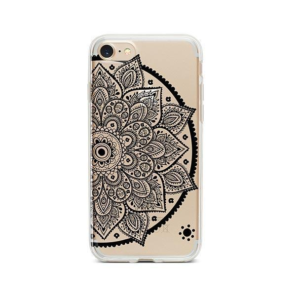 Black Henna Lotus Mandala iPhone 7 Case Clear