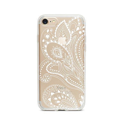 White Floral Paisley - Clear TPU - iPhone Case