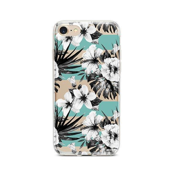 Black and White Floral iPhone 8 Case Clear