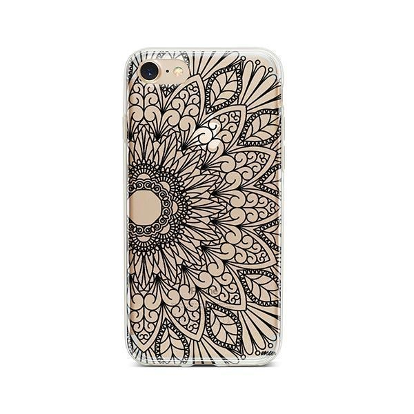 Black Mandala iPhone 8 Case Clear