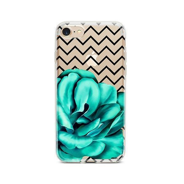Blue Camelia iPhone 8 Case Clear
