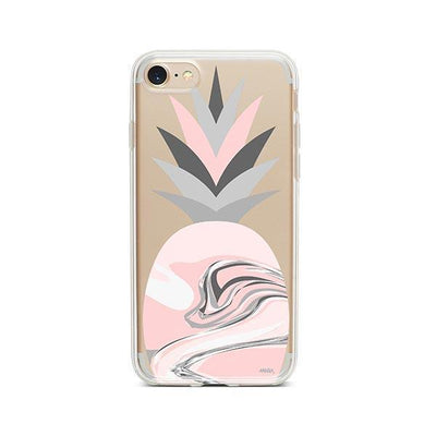 Marble Pineapple Head - Clear TPU - iPhone Case