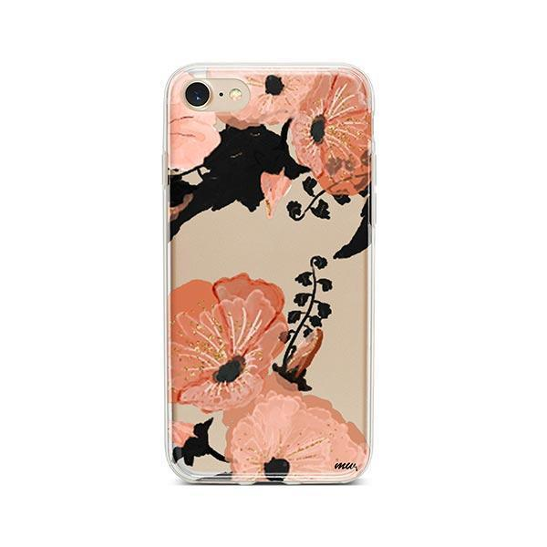 Peachy Floral iPhone 8 Case Clear