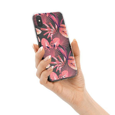 Pink Palm Leaves iPhone X Case Clear