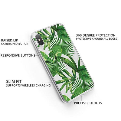 Tropical Palm Leaves iPhone X Case Clear