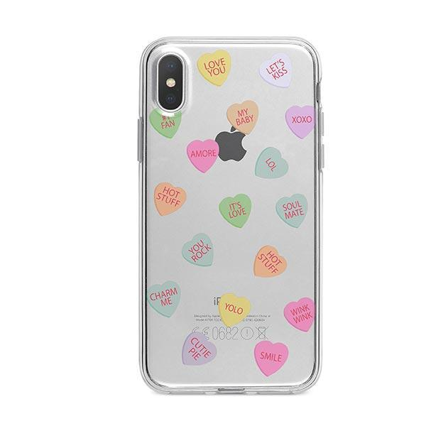 Valentines Candy iPhone X Case Clear
