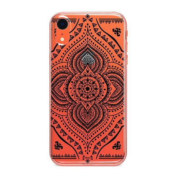 Black Opulent Mandala iPhone XR Case Clear