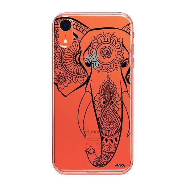 Black Tribal Elephant - iPhone XR Case Clear