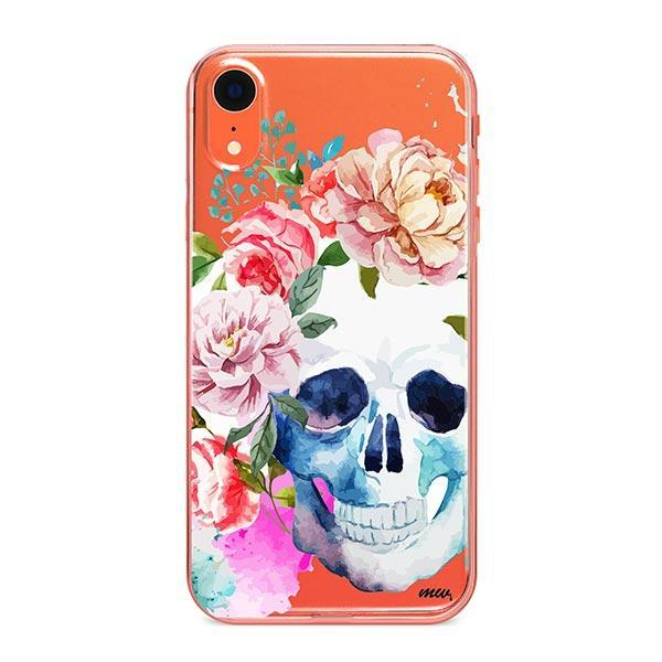 Colored Floral Skull iPhone XR Case Clear