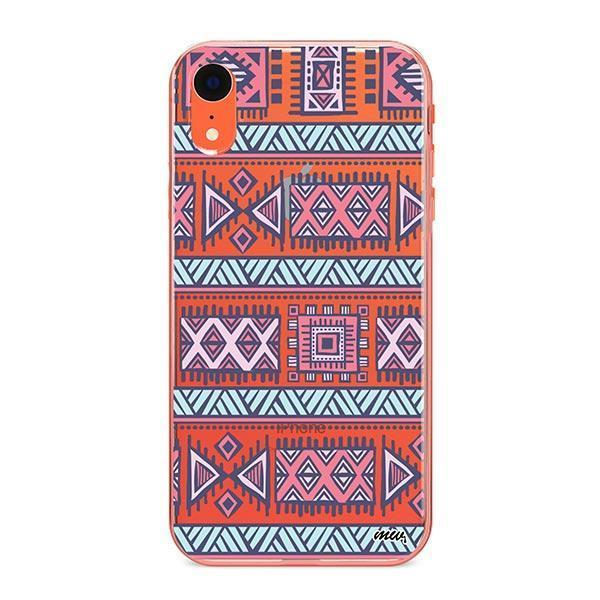 Colored Aztec iPhone XR Case Clear
