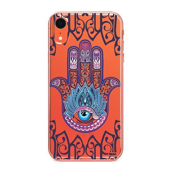Colored Hamsa iPhone XR Case Clear