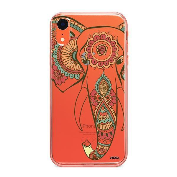Colored Tribal Elephant - iPhone XR Case Clear