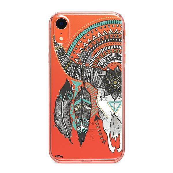 Feathered Mandala Animal Skull iPhone XR Case Clear