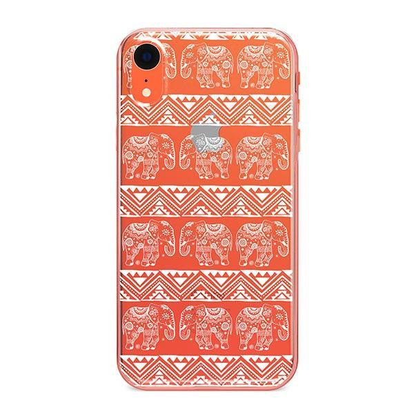Henna Lotus Floral Elephant - iPhone XR Case Clear